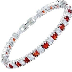 Ruby & White Topaz Tennis Bracelet